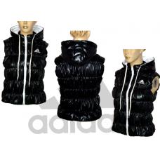 НОВО дамски елек ADIDAS черен с бяло
