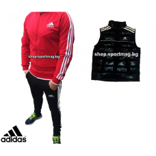 ОФЕРТА мъжки анцуг Adidas CLASSIC Poliamid червен+елек