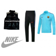 НОВО мъжки спортен комплект NIKE FC Barcelona син+елек