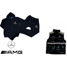 ЗИМЕН ватиран мъжки анцуг Mercedes тъмно син+елек